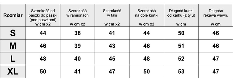Tabelka wymiarów Kurtka Damska Ramoneska wiosna lato skóra Jeans model #102 fashionavenue.pl