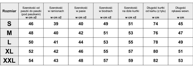 TABELA WYMIARÓW KURTKA ZIMOWA OCIEPLANA LUXURY #106 FASHIONAVENUE.PL