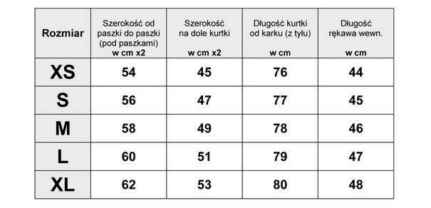 TABELA WYMIARÓW KURTKA ZIMOWA OCIEPLANA MORO #108 FASHIONAVENUE.PL