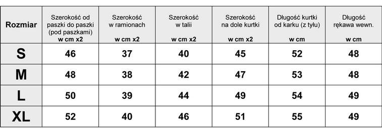 Tabela Wymiarów Kurtka Damska Lekka Puchówka Kołnierz z Futerkiem#117 fashionavenue.pl