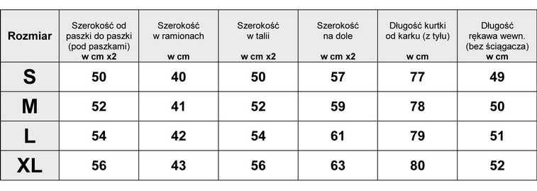 Tabela Wymiarów Kurtka Damska Zimowa #119 fashionavenue.pl