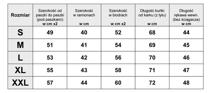 Tabela Wymiarów Kurtka Damska Bomberka #122 fashionavenue.pl