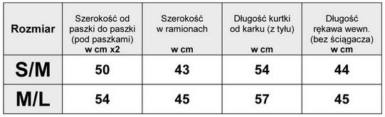 Tabela Wymiarów Kurtka Damska Bomberka #123 fashionavenue.pl