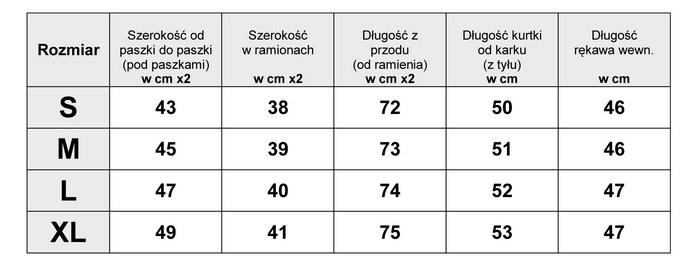 Tabelka Wymiarów Kurtka Damska Waterfall Duży kołnierz #98  fashionavenue.pl