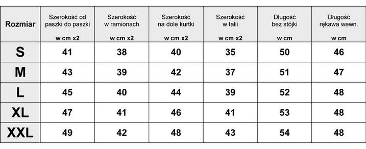 TABELA WYMIARÓW KURTKA PILOTKA PIKOWANA #23F