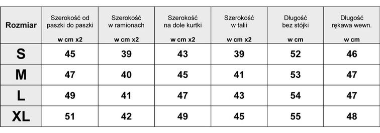 TABELA WYMOARÓW KURTKA DAMSKA RAMONESKA SKÓRA + MATERIAŁ model #57