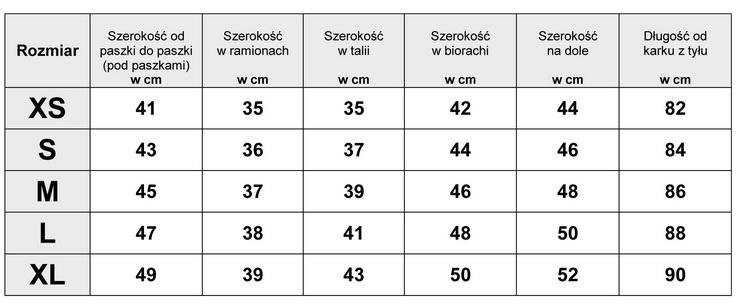 Tabelka wymiarów SUKIENKA JEANSOWA model JS708 FASIONAVENUE.PL