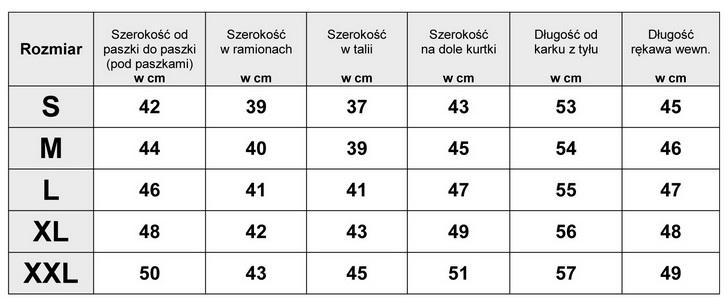 Tabela Wymiarów Kurtka Damska Motocyklowa #100 fashionavenue.pl
