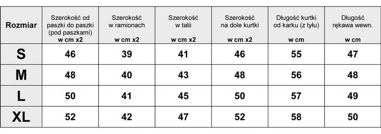 Tabela Wymiarów Kurtka Damska Ramoneska Kożuszek #124 fashionavenue.pl