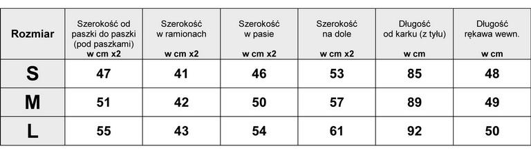 Tabelka wymiarów EKSKLUZYWNA ASYMETRYCZNA KOSZULOWA SUKIENKA JEANSOWA model #136 FASIONAVENUE.PL
