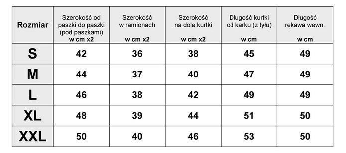 Tabelka wymiarów Kurtka Damska katana Jeans wzory azteckie etno wiosna lato jesień model #147 fashionavenue.pl
