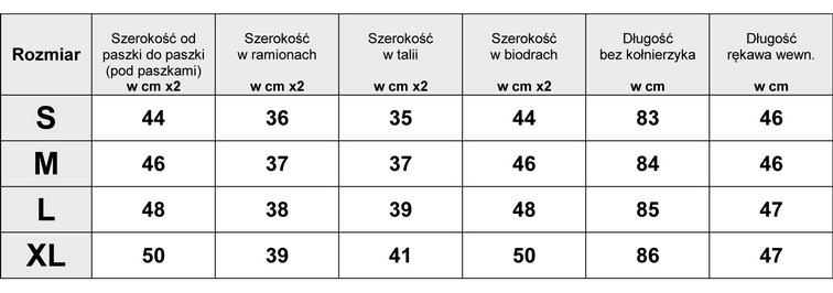 Tabelka Wymiarów dla Płaszcz Damski Klasyczny Dwurzędowy Zamek model #95 FASHIONAVENUE.PL