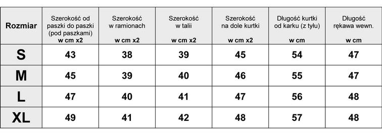 Tabelka wymiarów Kurtka damska Ramoneska Waterfall #96 fashionavenue.pl