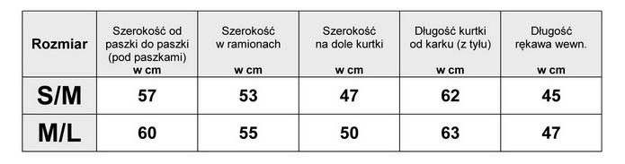 Tabelka wymiarów Kurtka Damska Jeans Długa Perełki wiosna lato jesień model #707 fashionavenue.pl