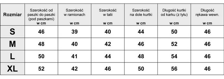 Tabela Wymiarów Kurtka Damska #AW635 kurtki.sklep.pl