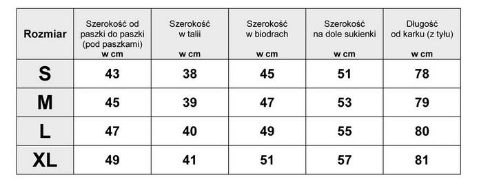 Tabelka wymiarów SUKIENKA JEANSOWA model BS-0384 FASIONAVENUE.PL