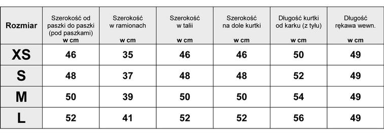 Tabelka wymiarów Kurtka Damska katana Jeans Lampasy wiosna lato jesień model #D967 fashionavenue.pl