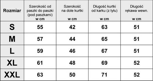 Tabelka Wymiarów Kurtka Damska Bomberka Haftowana #S-015