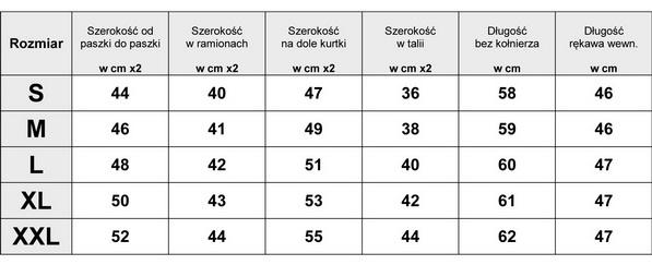 TABELKA ROZMIARÓW  RAMONESKA ZE SKÓRY PODSZYTA FUTERKIEM #79