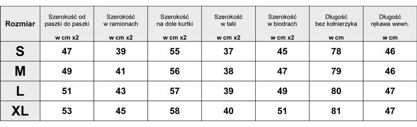 Tabela Wymiarów EKSKLUZYWNY PŁASZCZ DAMSKI WEŁNA BOUCLE SKÓRZANE RĘKAWY ZIP model #86 w sklepie FASHIONAVENUE.PL