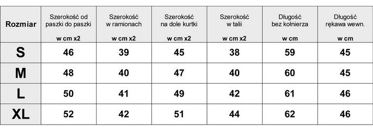 Tabela Wymiarów EKSKLUZYWNY PŁASZCZ DAMSKI KLASYCZNY WEŁNA BOUCLE SKÓRZANE RĘKAWY PIKOWANY model #85 w sklepie FASHIONAVENUE.PL