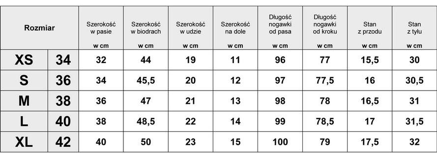 Tabelka wymiarów SPODNIE DAMSKIE JEANS  WYSZCZYPLAJĄCE ze SZWEM i BASKINKĄ model #0396