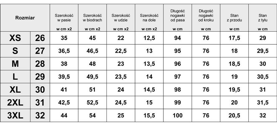 Tabelka wymiarów Spodnie Damskie Jeans Rurki model #401 fashionavenue.pl
