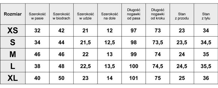 Tabelka wymiarów Spodnie Damskie Jeans Rurki model #G5117 fashionavenue.pl
