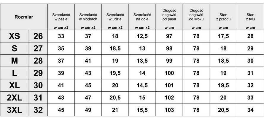 Tabelka wymiarów Spodnie Damskie Jeans Lampasy model #2023 fashionavenue.pl