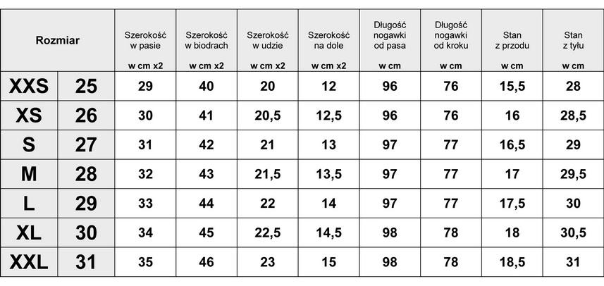Tabelka wymiarów Spodnie Damskie Jeans Aztec model #317 fashionavenue.pl