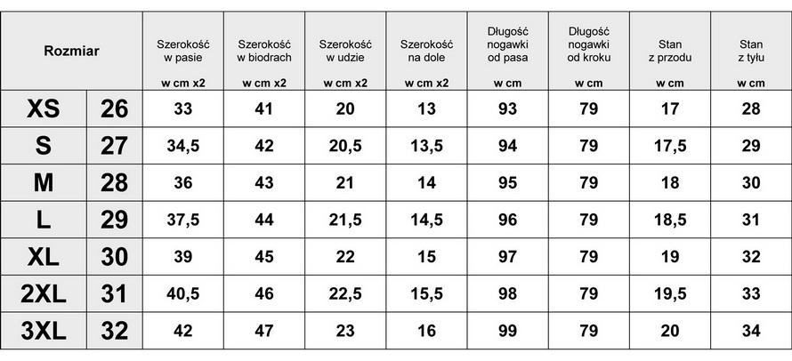 Tabelka wymiarów Spodnie Damskie Jeans Lampasy model #419 fashionavenue.pl