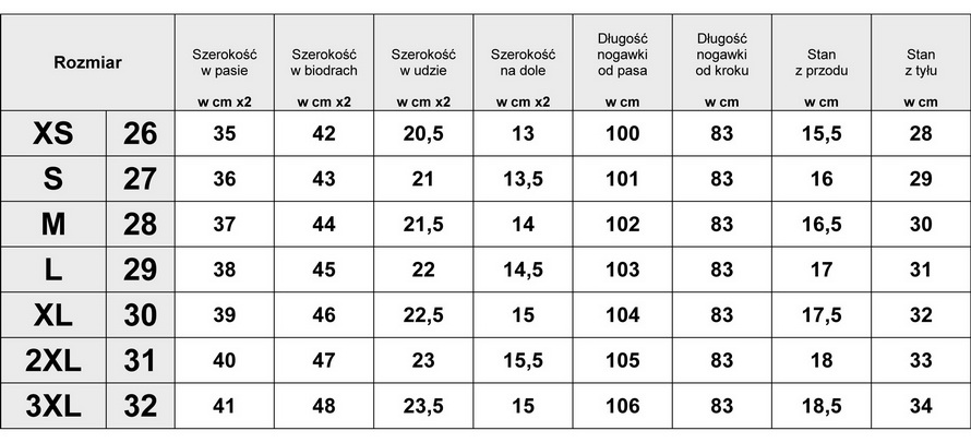 Tabelka wymiarów Spodnie Damskie Jeans Aztec model #421 fashionavenue.pl