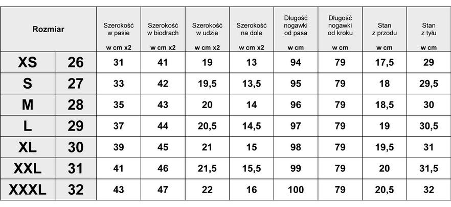 Tabelka wymiarów Spodnie Damskie Jeans Aztec Lampasy model #435 fashionavenue.pl