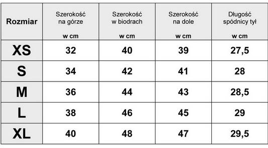 Tabelka wymiarów SPÓDNICA JEANSOWA MINI Przecierana Cyrkoniemodel #JM819 FASIONAVENUE.PL